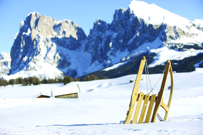 The mountain pastures of Siusi/Seiser Alm offer excellent toboggan runs with spectacular views of the surrounding mountaintops Sassolungo/Langkofel and Sassopiatto/Plattkofel.