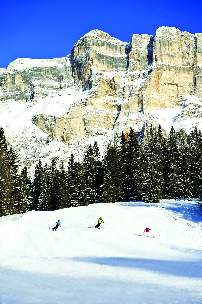 There's nothing like a downhill run through fresh snow from Monte Croce in Alta Badia, beneath the rock faces of the Pale Mountains.