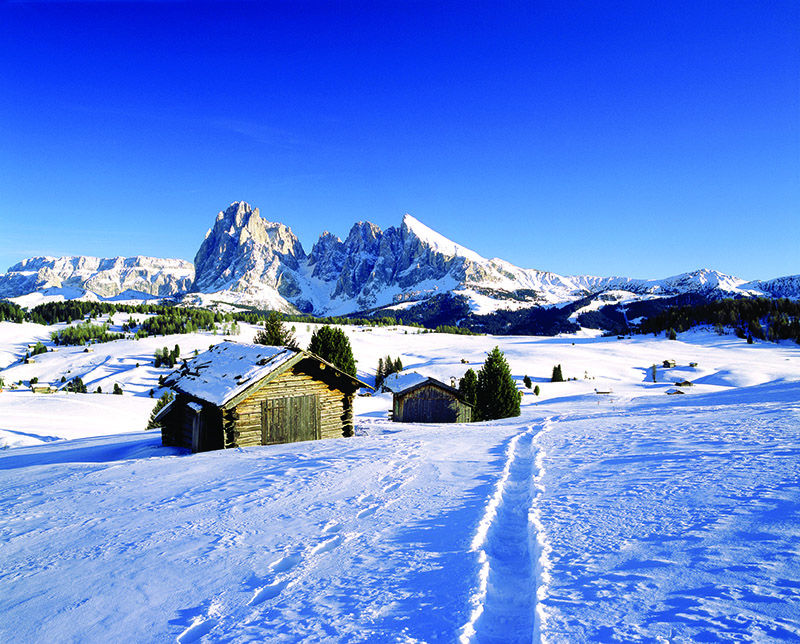 In winter, the expansive pastures of Alpe di Siusi/Seiser Alm turn into a romantic skiing area.