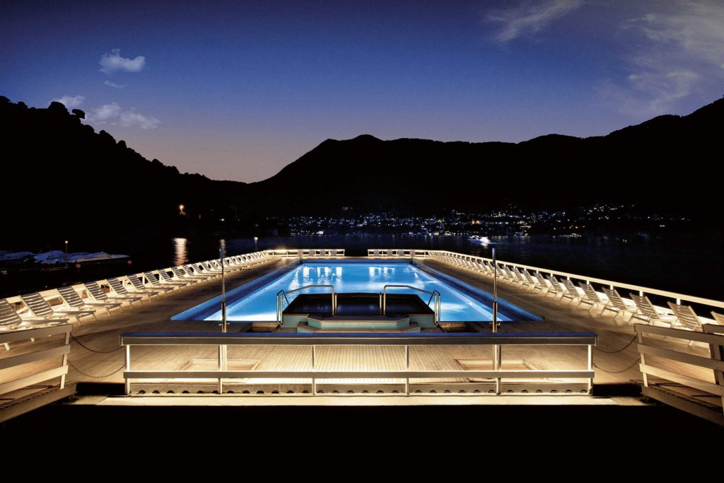 Floating pool by night