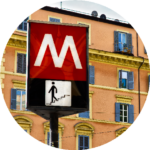 The Metro sign in Italy is red with a white M.