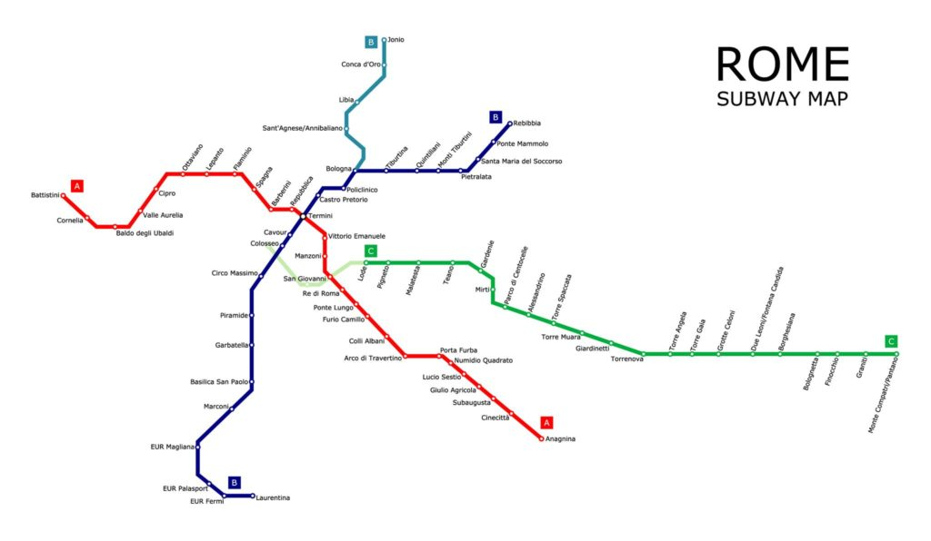 A map of the Metropolitana train routes in Rome - Italy by train.