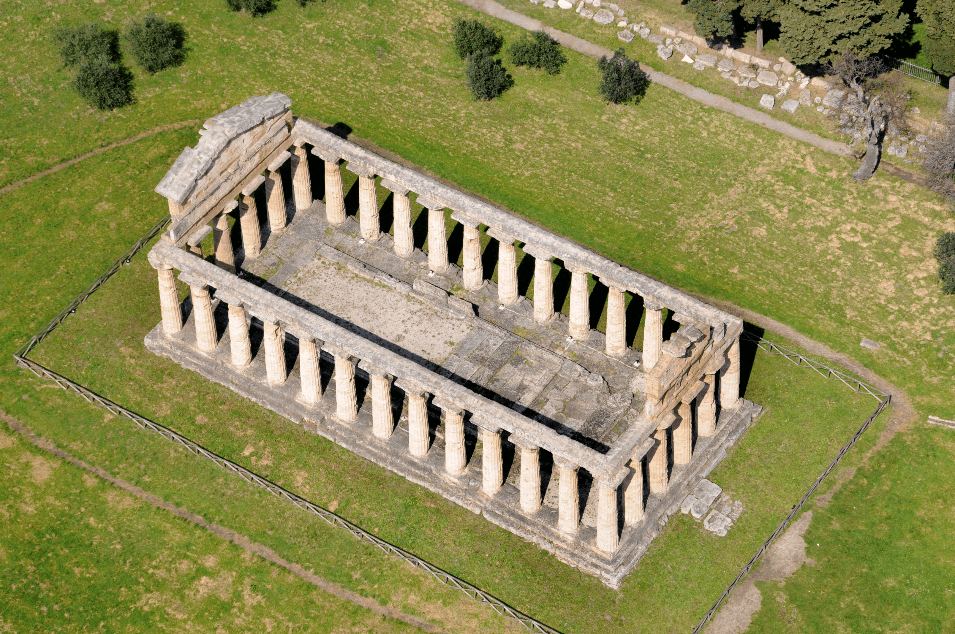 An aerial view of the Tempoli di Hera
