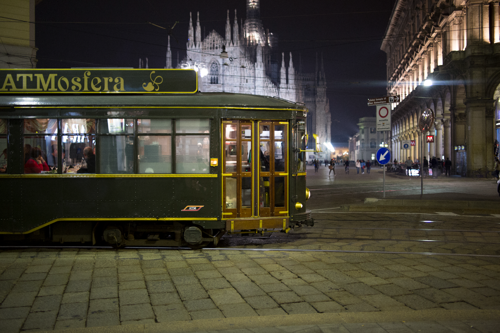 Italy's first itinerant restaurant on a renovated tram, known as the ATMosfera.