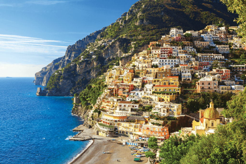 The colourful cliff-side town of Positano on the Amalfi Coast